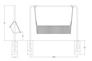 drawing of commercial grade memorial swing