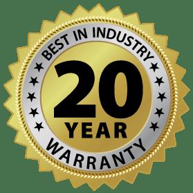Best in industry 20 year warranty