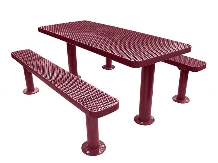 Multi Pedestal Surface Mount Picnic Tables