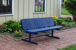 park bench with plastisol coated perforated steel seats