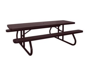 free standing commercial grade 8' picnic table has no-tip design
