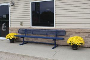 poly-vinyl coated metal portable outdoor bench