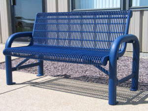contoured bench with plastisol coated welded rod seat