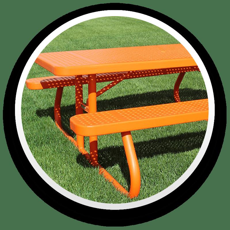 Orange Rectangle Picnic Table
