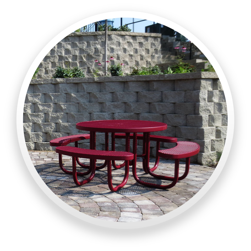 An Umbrella Hole Is Standard On The Free Standing Picnic Table. The  Champion Style Products Are Offered With Poly Vinyl Coated Expanded Metal  And Perforated ...