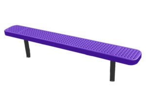 completely plastisol coated outdoor bench with direct bury legs