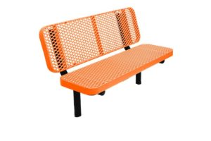 in-ground bench with plastisol coated seats and legs