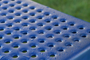 perforated steel surface