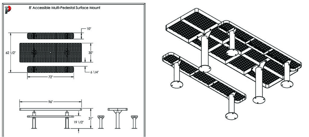accessible table, perforated steel surface
