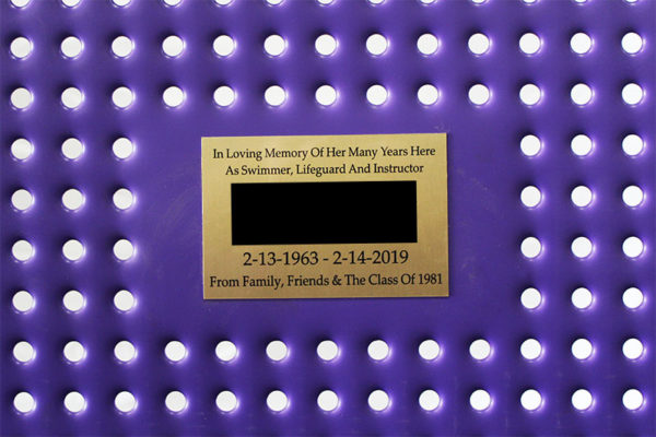 sublimated ink plaque on plastisol coated perforated steel backrest
