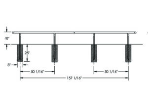 Drawing of the 15 ft in-ground bench