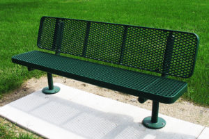park bench with surface mount posts and expanded metal style seat