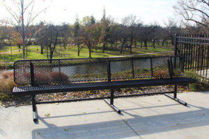 center leg of the park bench offers extra stability