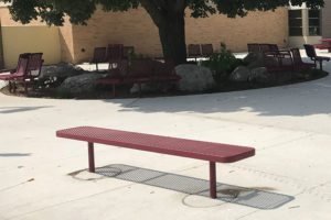 6 foot in-ground bench with plastisol coated perforated steel seat and legs