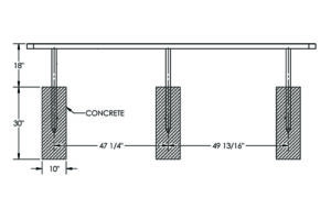 drawing of the 10 foot in-ground bench