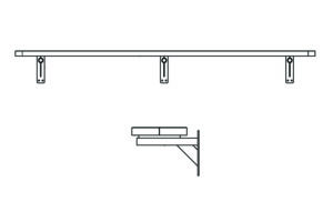 drawing of the 10' wall mount bench
