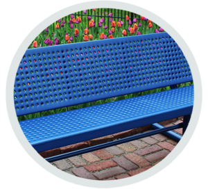 in-ground bench with plastisol coated perforated steel seats