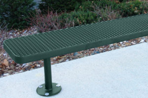 surface mount outdoor bench with bolt-down legs