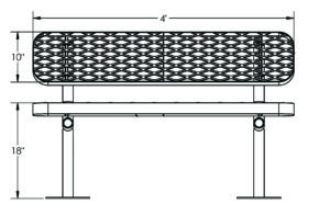 drawing of plastisol coated 4 foot metal bench