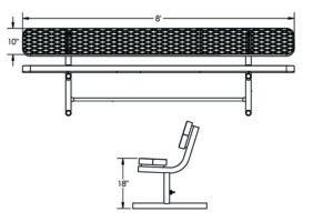 8 foot metal bench with plastisol coating