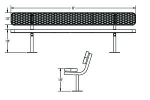 drawing of plastisol coated 10 foot metal bench