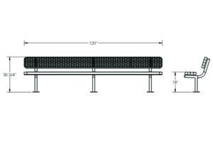 drawing of plastisol coated 10 foot bench