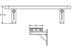 Drawing of the 4 foot wall mounted bench