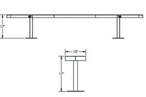 Drawing of 10 ft surface mount bench