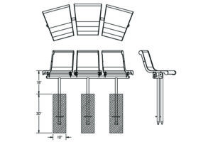 Drawing of 45-degree contour bench with direct bury legs