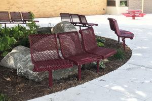 45 degree convex contour bench, in-ground