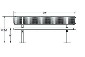 drawing of plastisol coated 6 foot metal bench