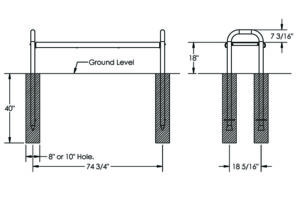 Drawing of the 6' in-ground contour flat bench