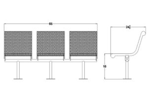 Drawing of in-line contour bench with bolt-down legs