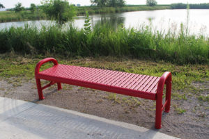 contour bench with plastisol coated laser cut steel seat
