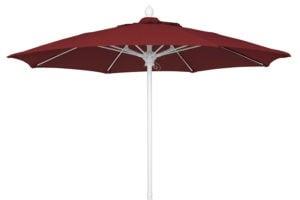 Burgundy 7.5 foot market umbrella white pole