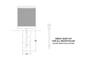 receptacle mounting post